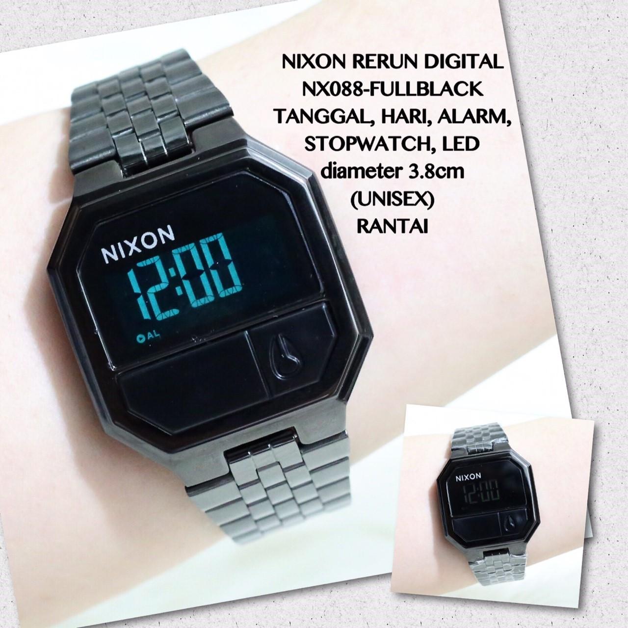 Jam tangan NIXON RERUN digital unisex alarm stopwatch rantai stainless