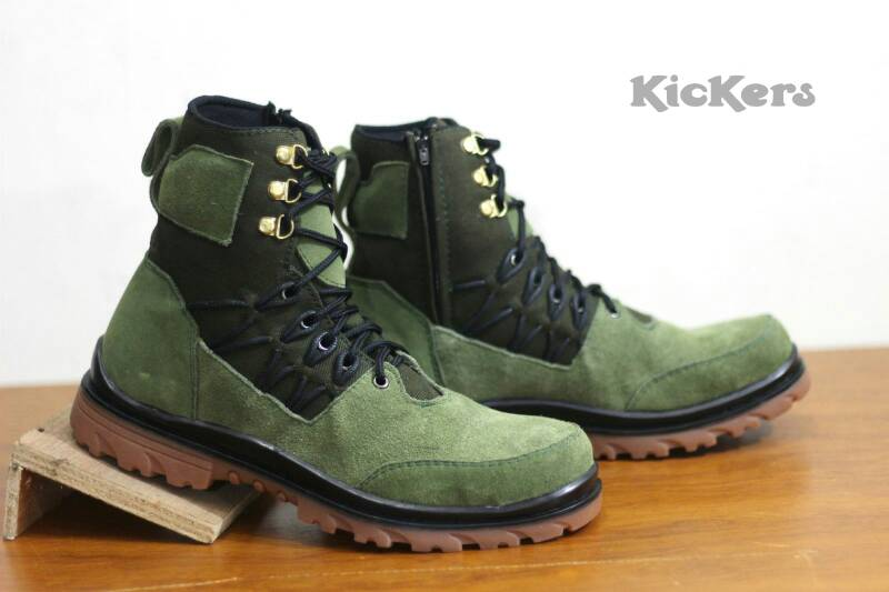 kickers delta safety sleting suede green Murah