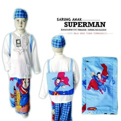 Set Ibadah Anak Sarung Celana Peci Sajadah Tas Karakter Superman Biru