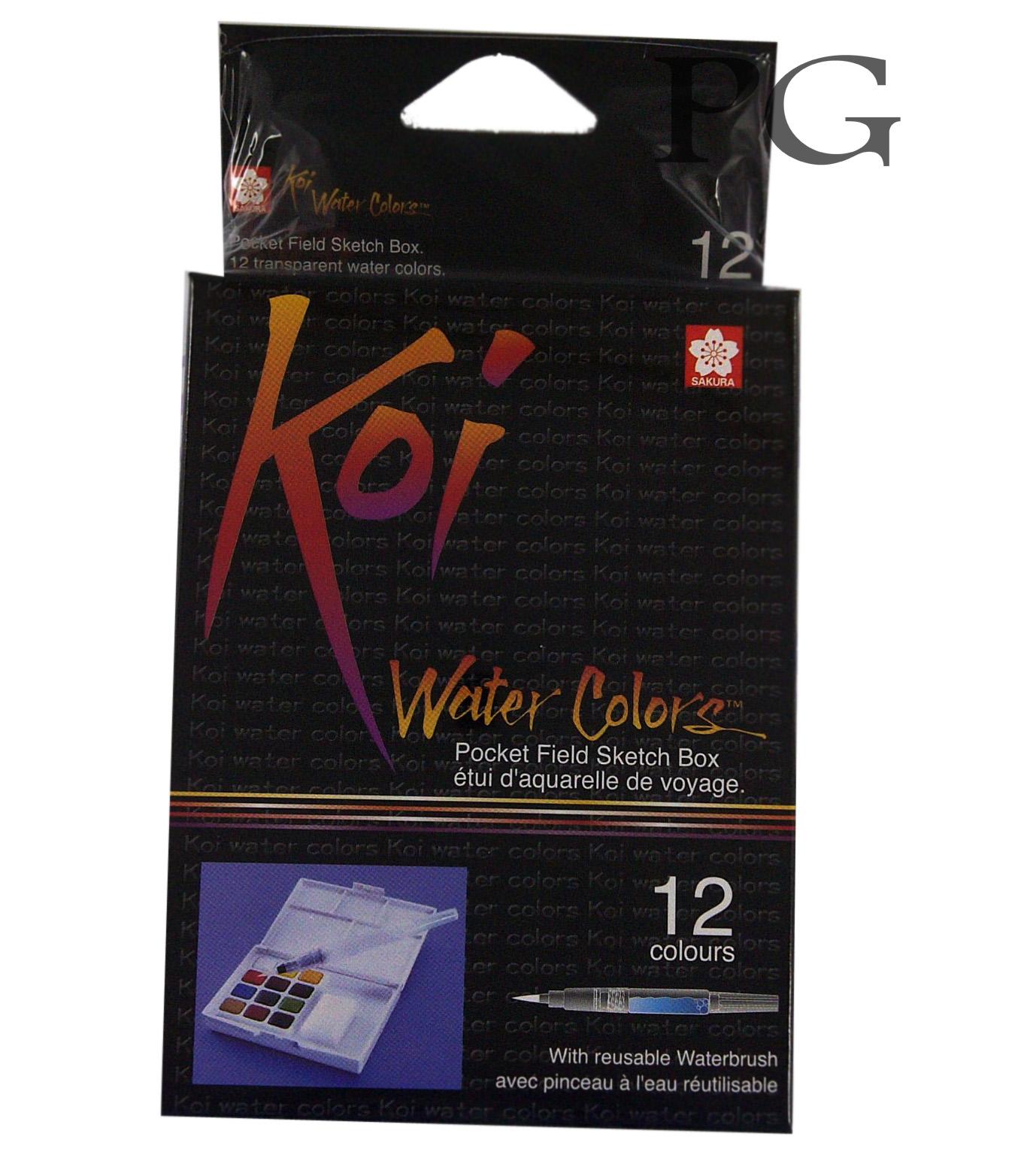 Sakura KOI WaterColors 12 Color Sketch Pocket Box Set Per 6 Set