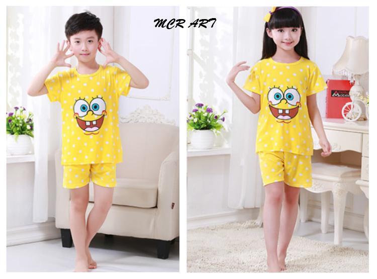 STKD262 - Setelan Anak Pendek Spongebob Smile Dot White Yellow Murah