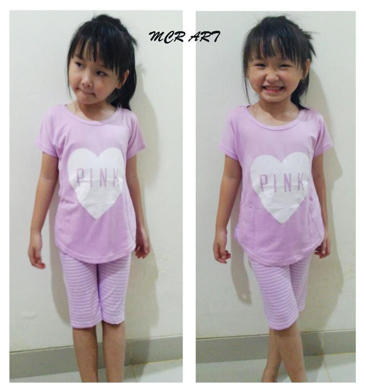 STKD266 - Setelan Anak Selutut PINK Love Purple Murah
