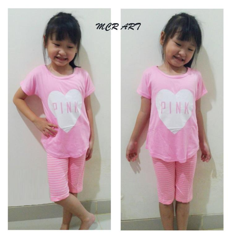 STKD265 - Setelan Anak Selutut PINK Love Pink Murah