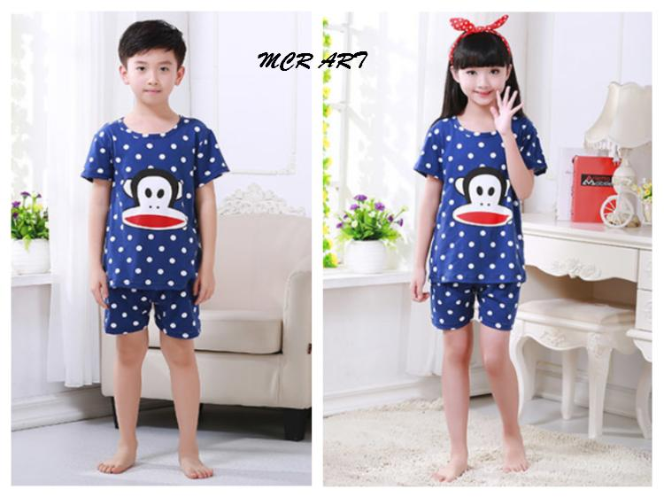 STKD263 - Setelan Anak Pendek Monkey Face Dot Dark Blue Murah