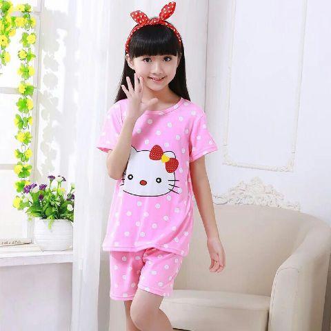STKDHK123 - Setelan Anak Pendek Hello Kitty Face Dot Pink Murah