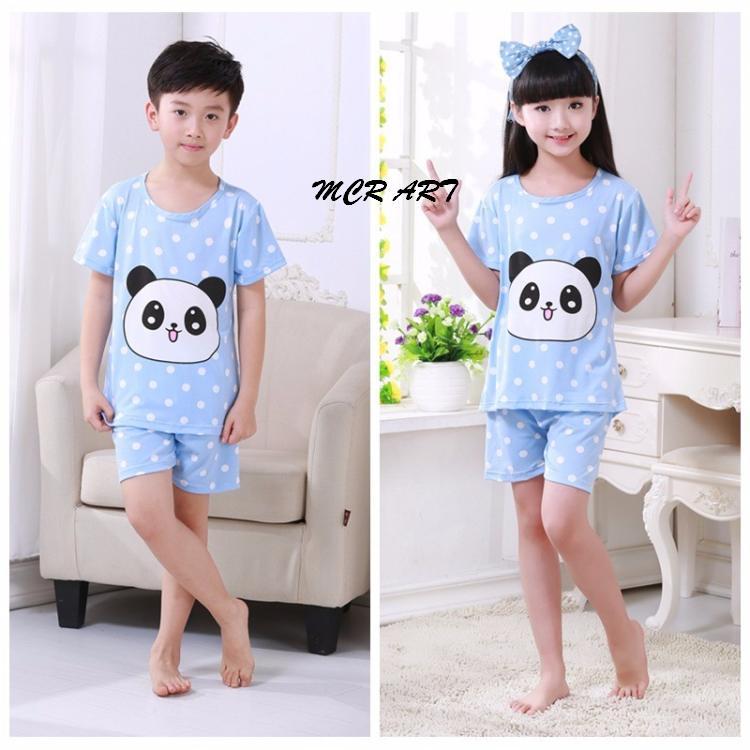 STKD264 - Setelan Anak Pendek Panda Face Cute Dot Blue Murah