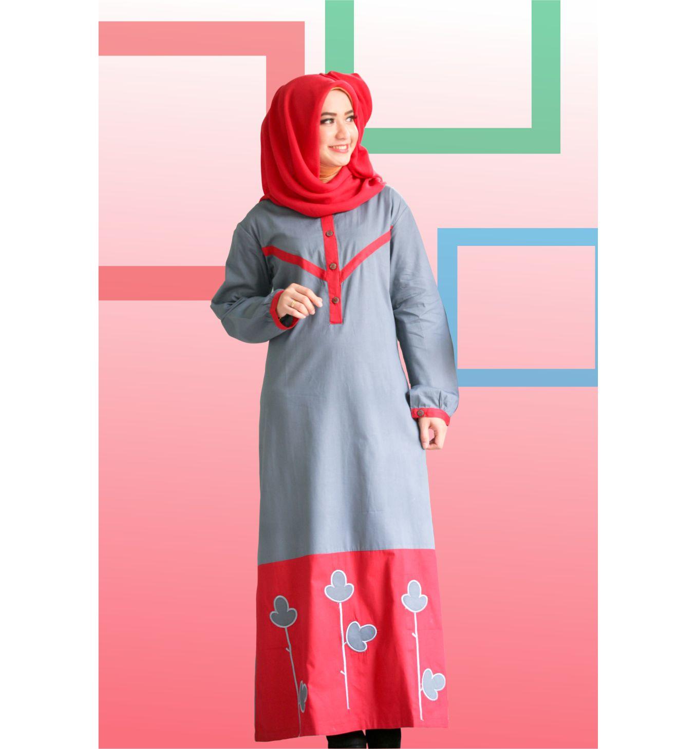 Jual Baju Gamis Katun Twill Murah Nibras NB 41 Abu Tua Merah Size