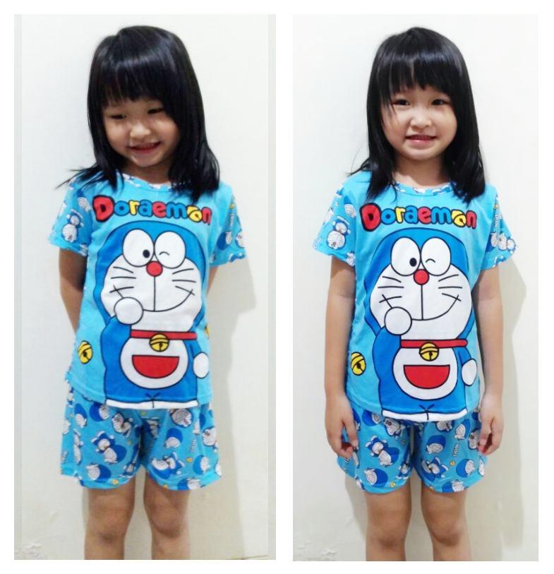 STKDDR37 - Setelan Anak Pendek Doraemon Blue Big Dora Murah