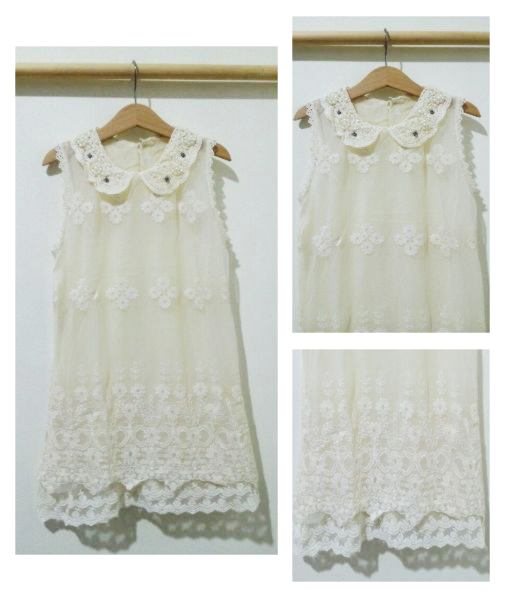 DRKD68 - Dress Anak Cream Rajut Elegan Murah