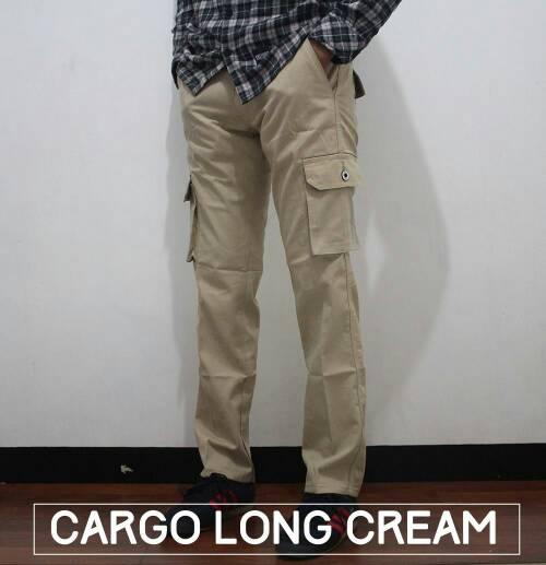 CARGO LONG PANTS-CREAM