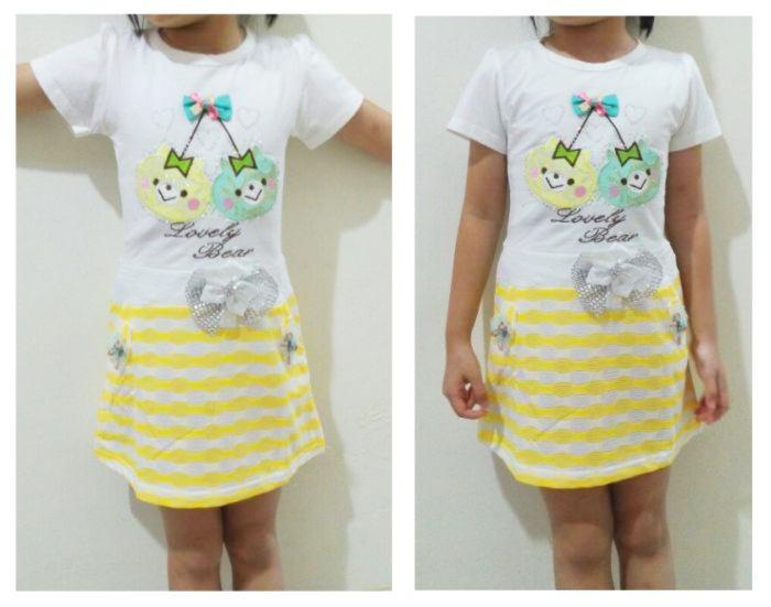 DRKD111 - Dress Anak Lovely Bear Stripe Skirt Yellow Murah