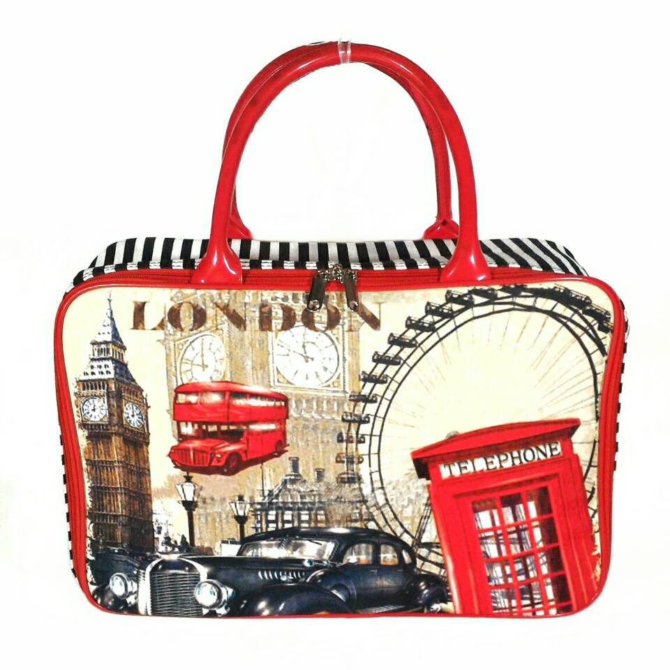 AMT Tas Travel Kanvas London Paris Serbaguna piknik mudik renang weekend travelling - Blanja.com
