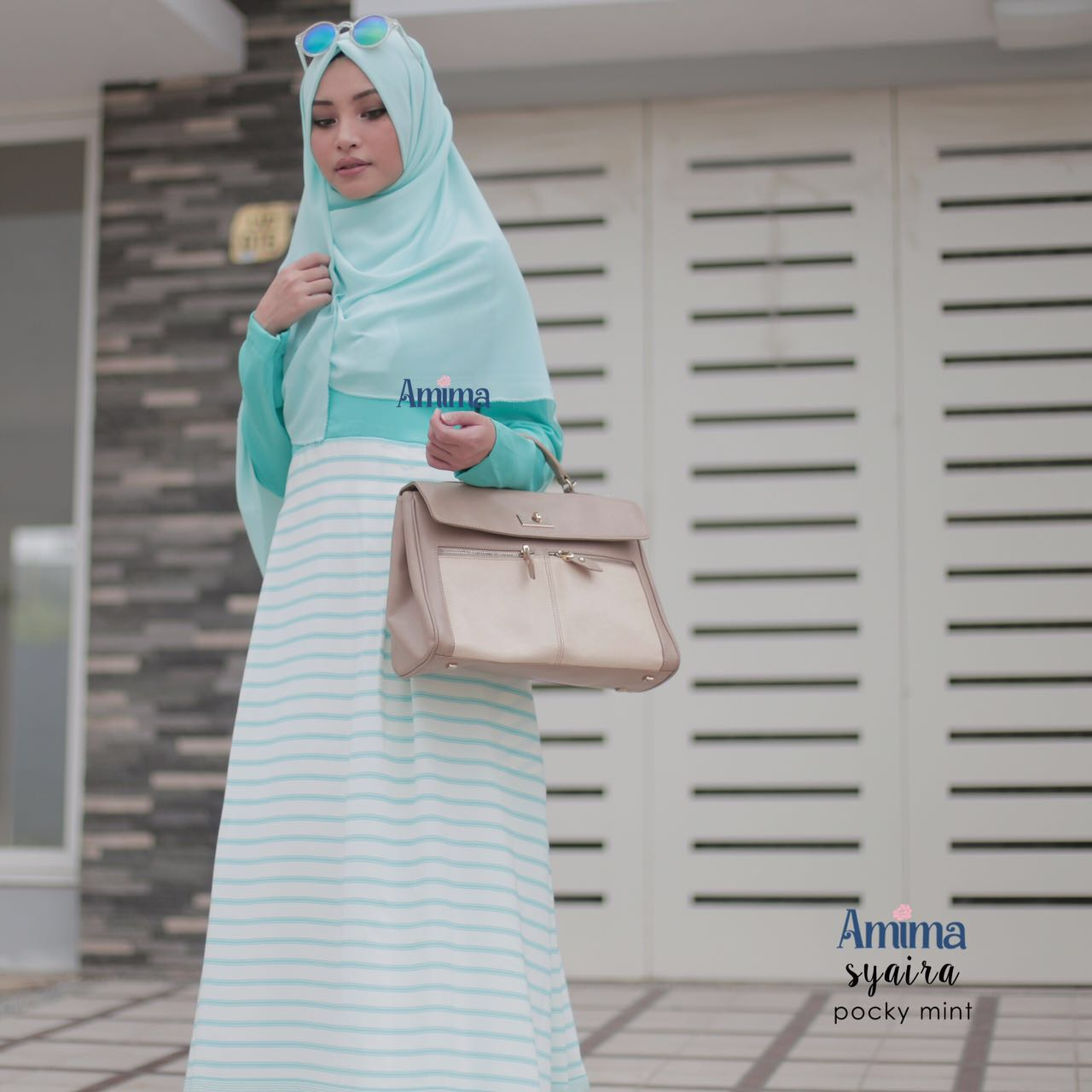 Jual Gamis Amima Syaira Dress Pocky Mint Baju Muslim