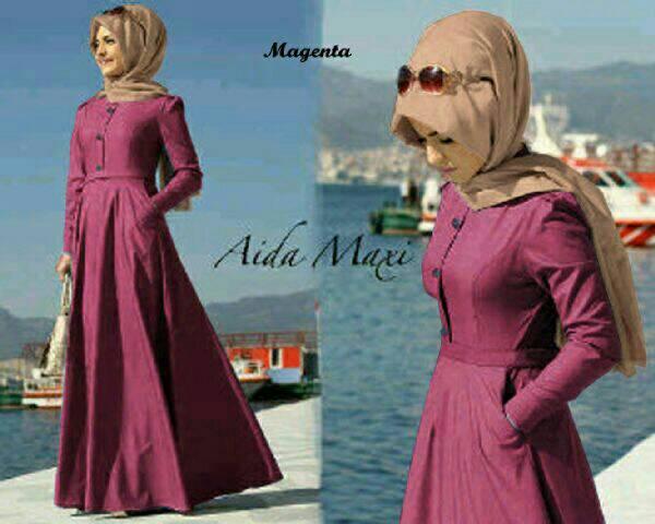 Setelan Hijab Aida Dusty Denim ( Maxi + pashmina )