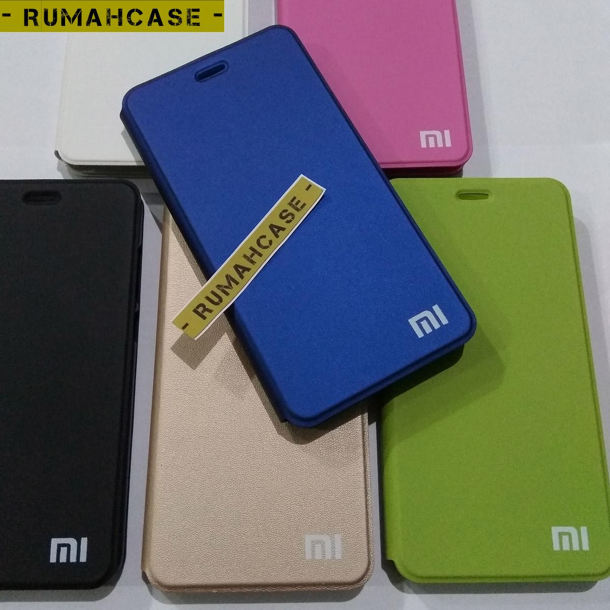 brand new d56fa 3a64e Jual Xiaomi Redmi Note 4 Flip Case Casing Cover MI LOGO Model ...
