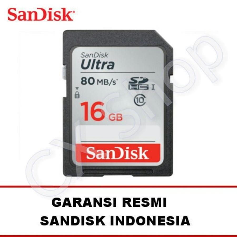 SanDisk Ultra SDHC Card 80MB / S Class 10 16GB - GARANSI RESMI