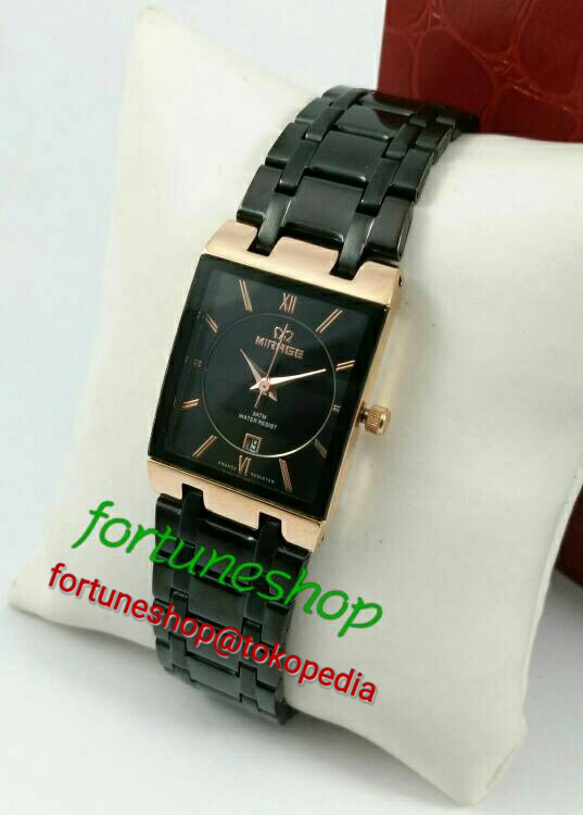 Jam Tangan Ladies Mirage 7908L Black Rose Gold