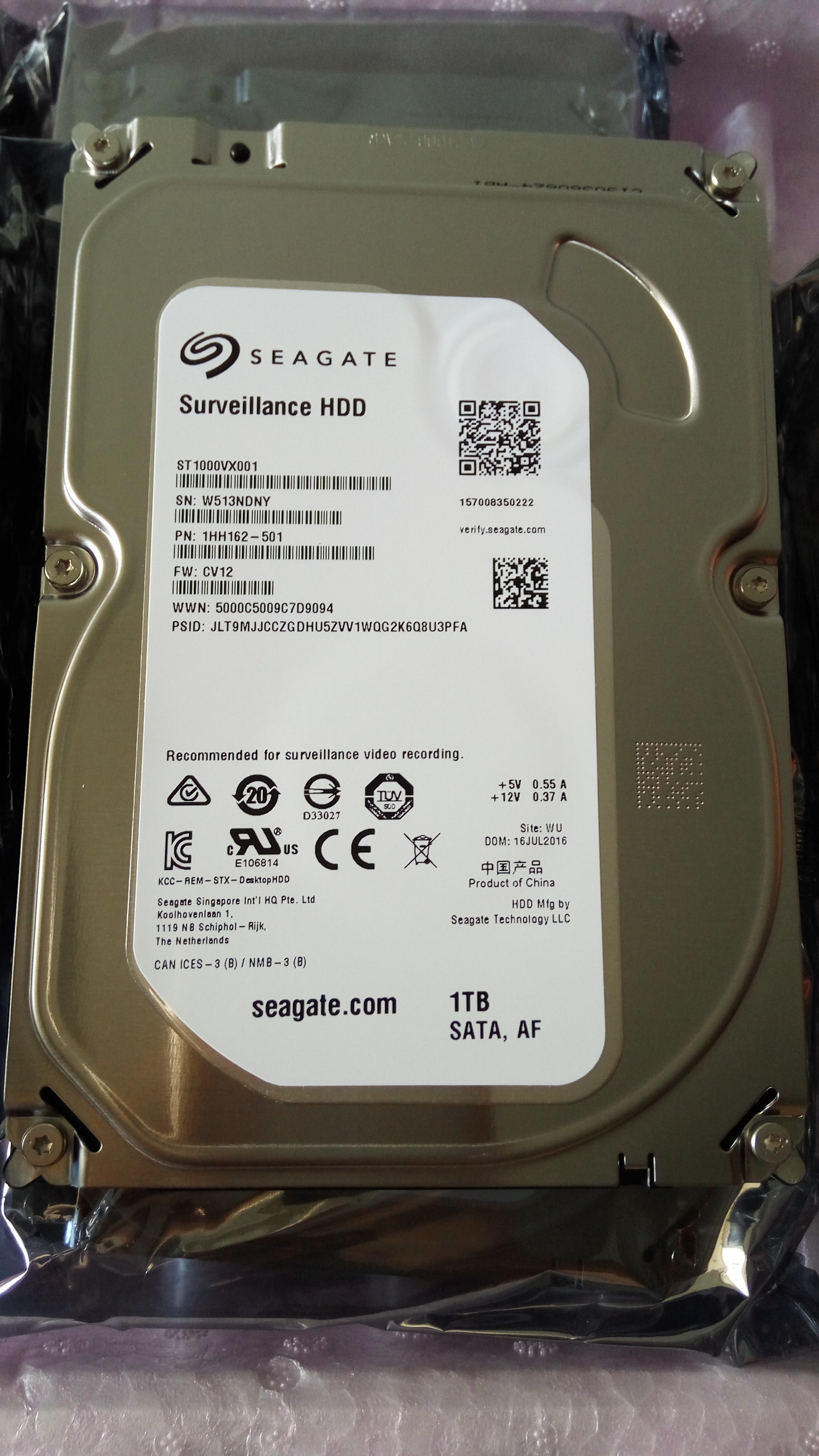 "Surveillance HDD, Hard Disk 3,5"" Seagate 1000 GB / 1TB"