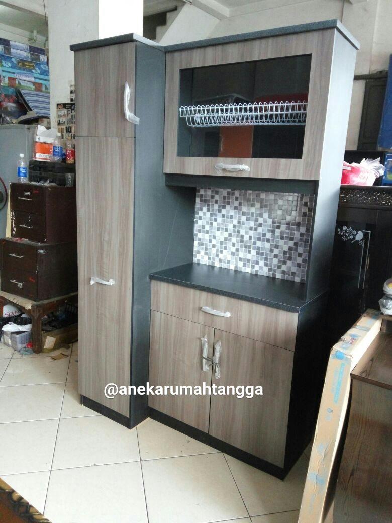 Jual rak piring lemari piring sliding minimalis coklat for Rak kitchen set minimalis