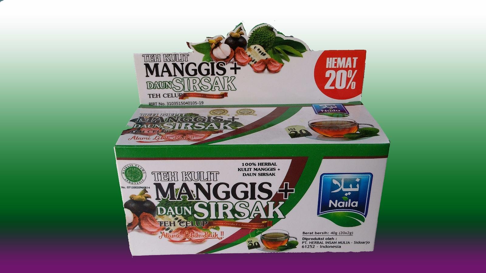 Harga Dan Spesifikasi Teh Kulit Mangis Terbaru 2018 Herbal Daun Sirsak Kemasan 1 Box 25 Celup Jual Naila Tea Dari Ekstrak Manggis Cak Duki Store