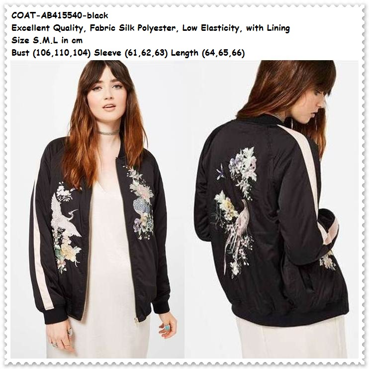 Jual Outer Jaket Jacket Black Coat Bomber Bunga Baju Wanita Korea ... d56ec49b7c