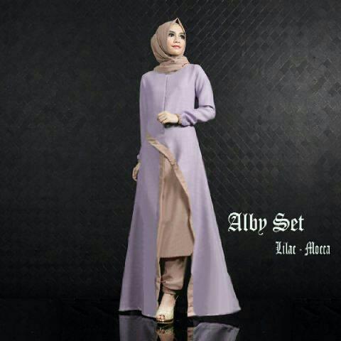 Gamis Set Cantik Alby Lilac Mocca ( modis terbaru murah )