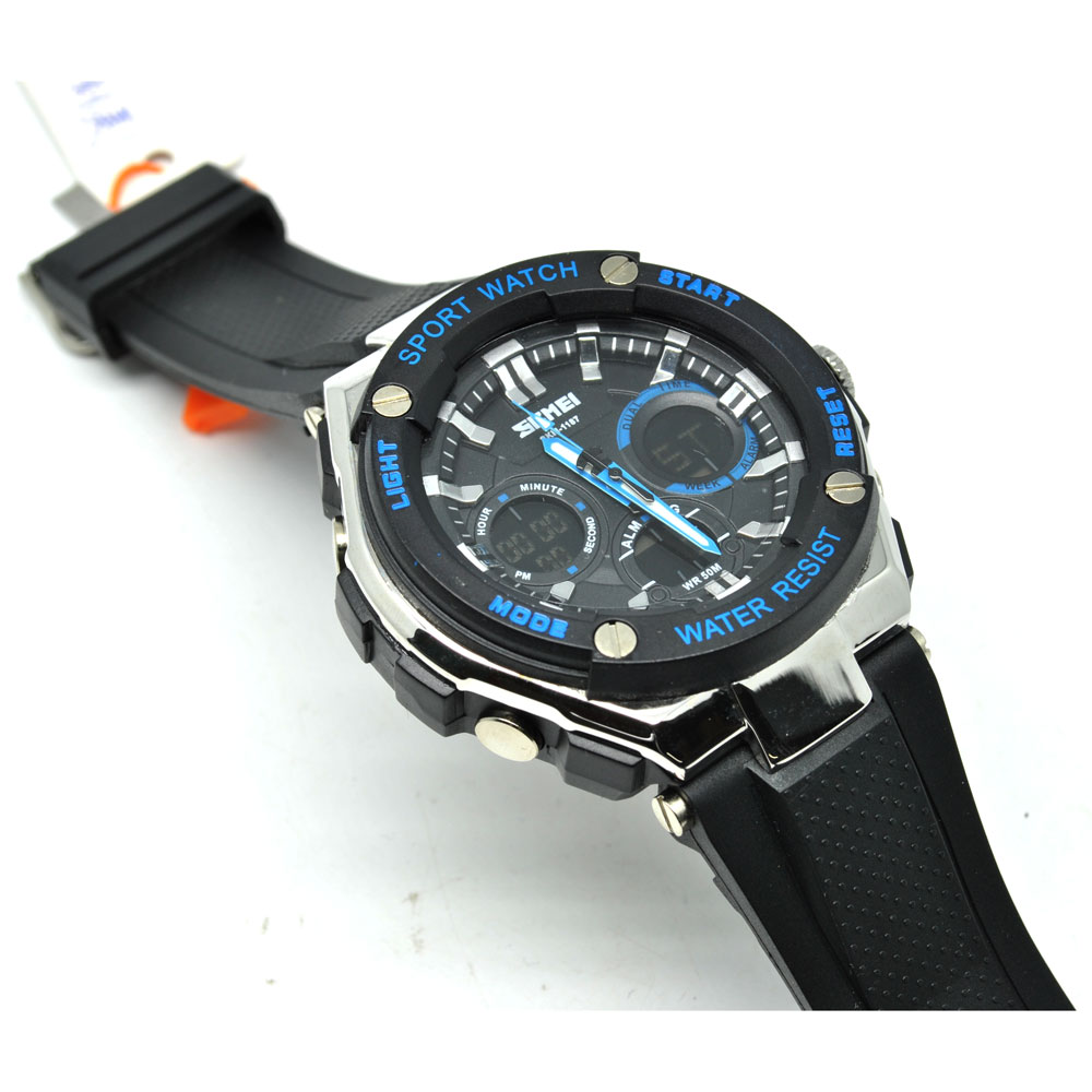 Jual Jam Tangan SKMEI Men Sport LED Watch Water Resistant 50m - Black Blue - Basis
