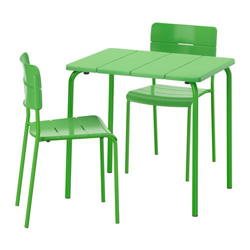 IKEA VADDO Meja Makan Dan 2 Kursi, Hijau