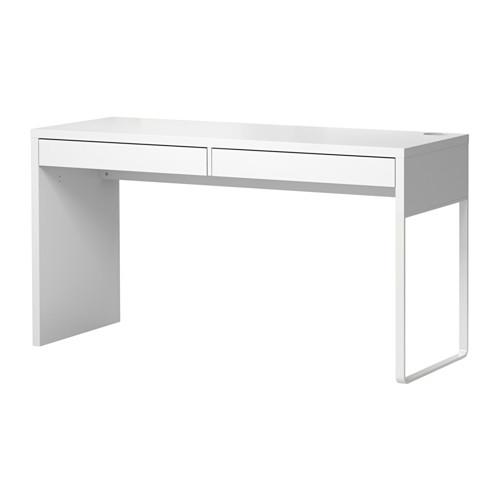 IKEA MICKE Meja Kerja Panjang 142x50 Cm, Bisa Utk 2 Orang, Putih
