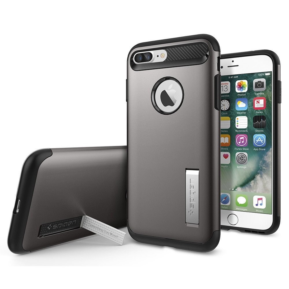 Spigen iPhone 7 Plus Slim Armor Soft Hard Case Casing - Gunmetal