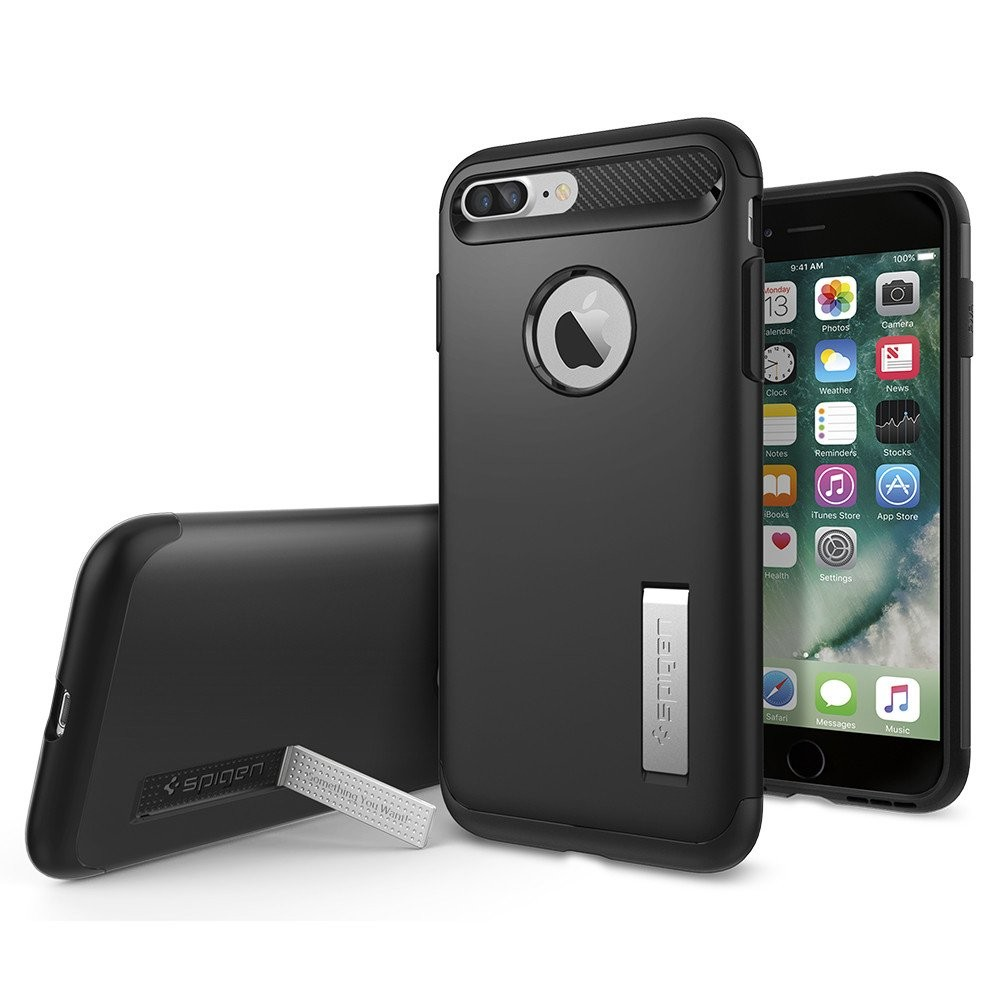 Spigen iPhone 7 Plus Slim Armor Soft Hard Case Casing - Black