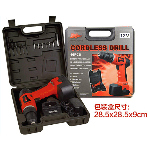 Cordless Rechargeable Electric Drill - DC-D010 / Bor Listrik - Red