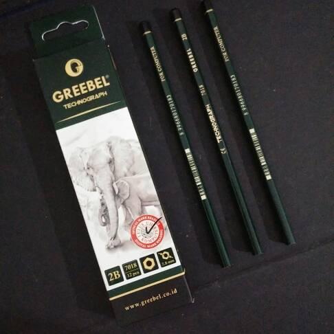 ATK0118GB Pensil 2B Greebel 7018 Hexagonal Pencil Grebel Gribel