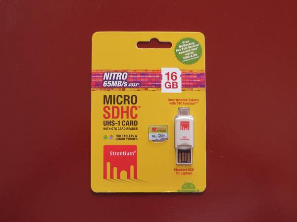 Strontium Nitro 433X MicroSDHC UHS-1 65MB / S Class 10 16GB With OTG Car