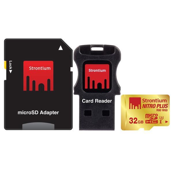 Strontium Nitro Plus 4K MicroSDHC UHS-1 U3 32GB With Adapter And Card