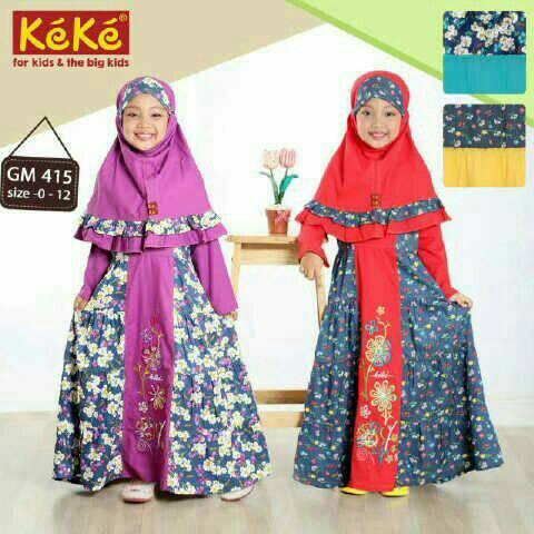 Jual Baju Muslim Keke Gm 415 Gamis Anak Katun Motif Bunga