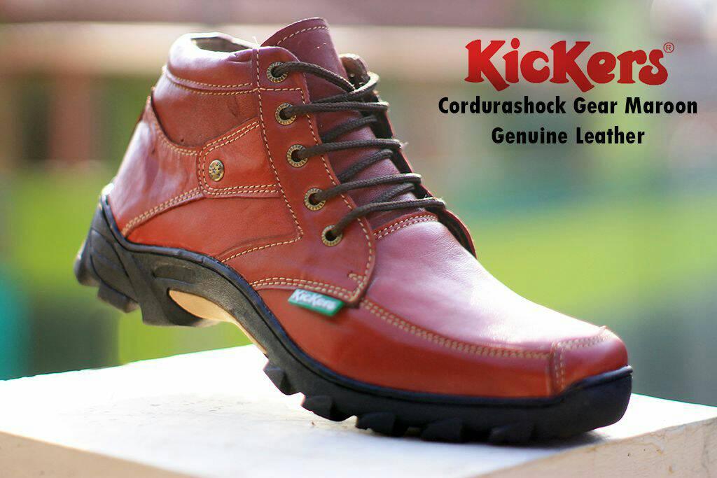 kickers cordurashock gear maroon kulit