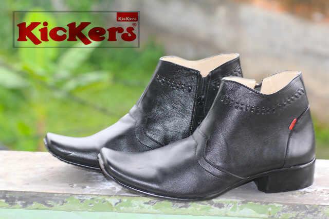 sepatu pantofel kickers cowboy hitam kulit
