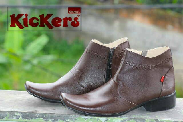 sepatu pantofel kickers cowboy coklat kulit