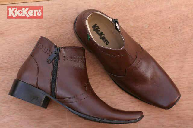 sepatu pantofel kickers zipper coklat kulit