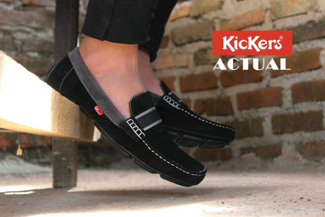 kickers actual hitam suede