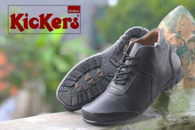 sepatu kickers tali king hitam kulit