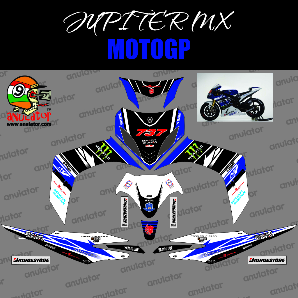 Jual sticker striping motor stiker yamaha jupiter mx 737 biru