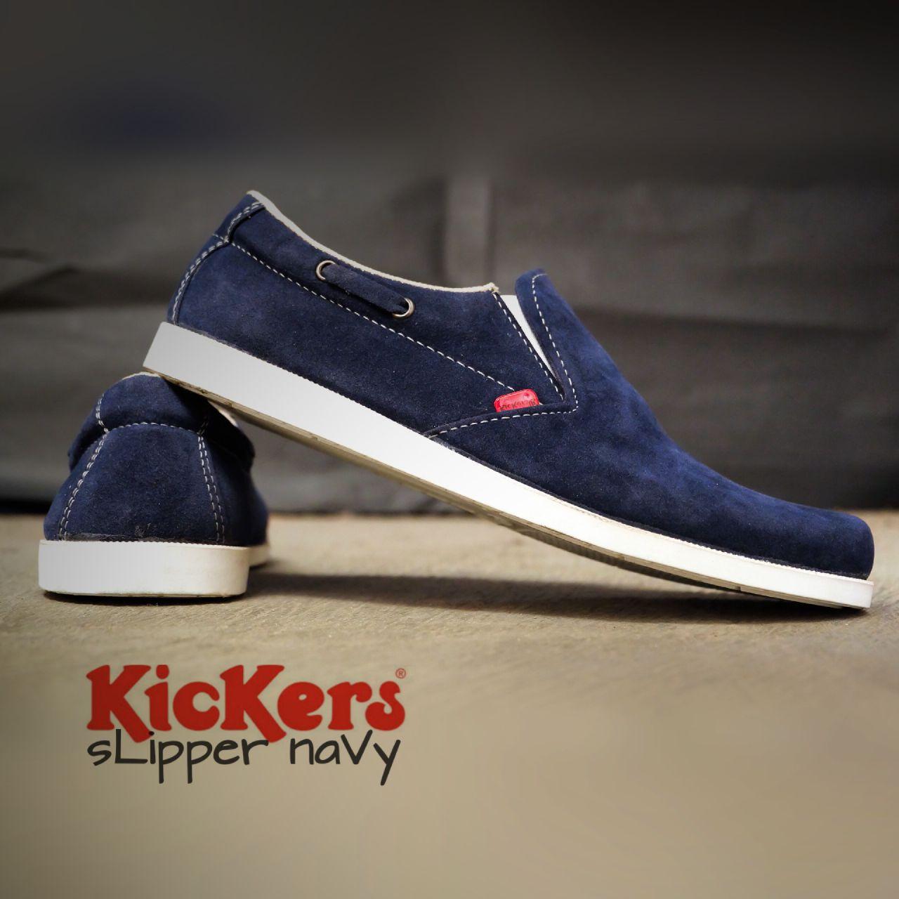 sepatu kicker slipper navy suede