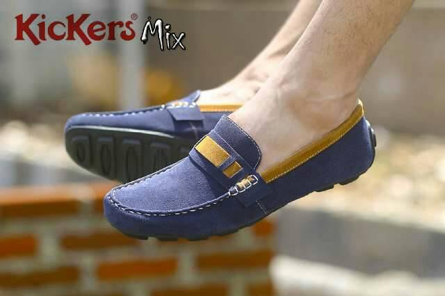 sepatu kickers mix navy suede