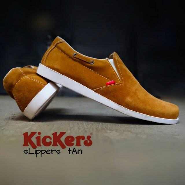 sepatu kickers slipper tan suede
