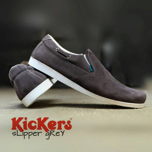 sepatu kickers slipper grey suede
