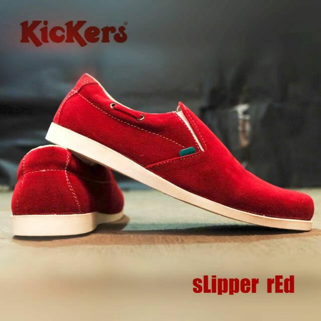 sepatu kickers slipper red suede