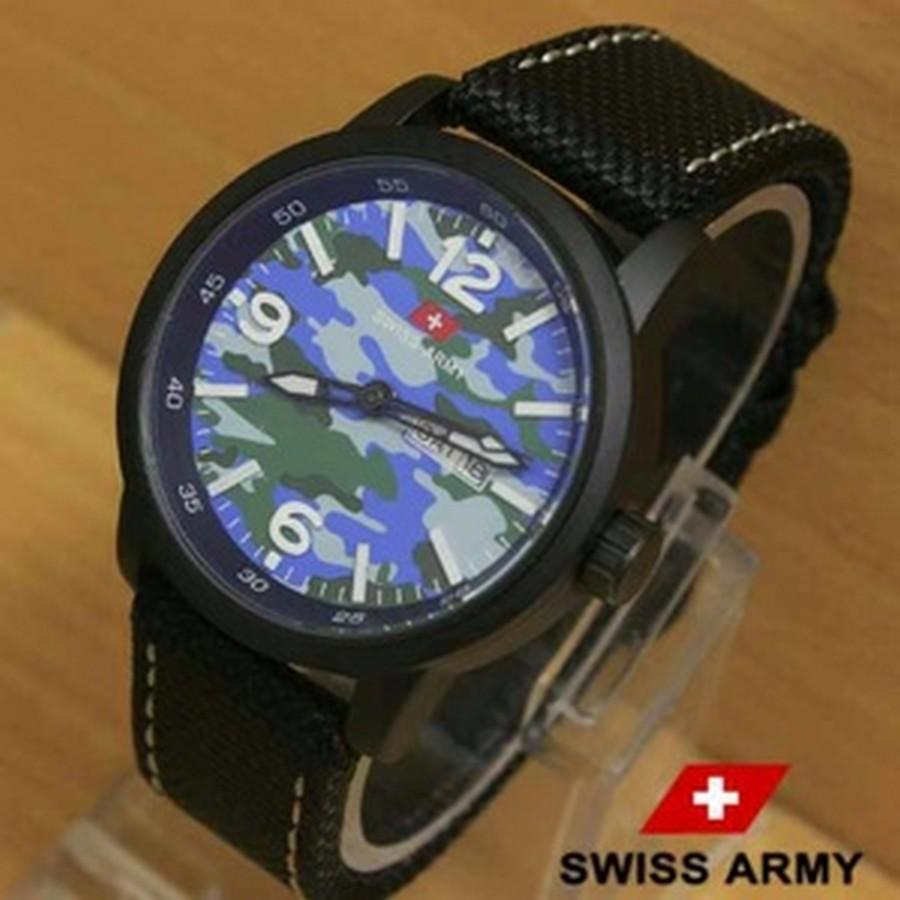 JAM TANGAN PRIA SWISS ARMY KANVAS HN403- BLACK BLUE