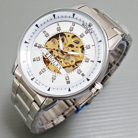 Jam Tangan Pria / Cowok Rolex Skeleton Omega Rantai Silve High Quality